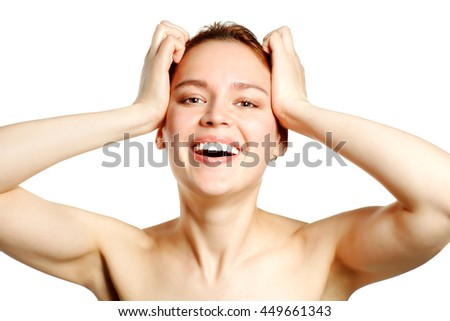 happy smiling young woman - stock photo
