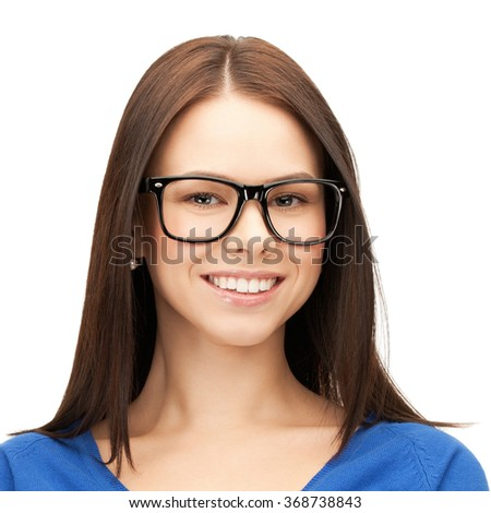 happy smiling young woman face in glasses - stock photo