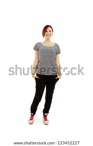 Happy smiling young woman full length. Isolated on white background - stock photo
