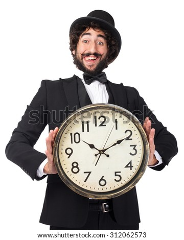 happy smoking man with clock - stock photo