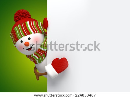 happy snowman behind blank banner, holiday background, 3d cartoon character illustration - stock photo