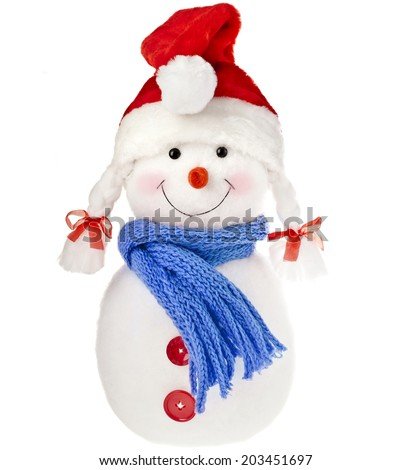 happy snowman in knitted hat and scarf isolated on white background - stock photo