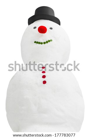 Happy snowman isolated on a white background - stock photo