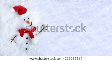 Happy snowman on snow background. - stock photo