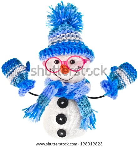 happy snowman spectacled in knitted blue hat and scarf and mittens- isolated on white background - stock photo
