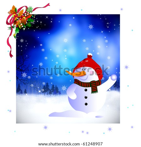 Happy snowman with christmas background - stock photo