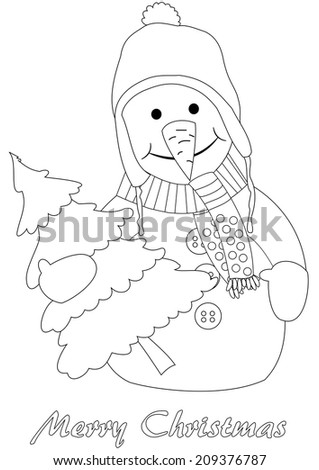 Happy snowman with christmas tree - coloring page - stock photo