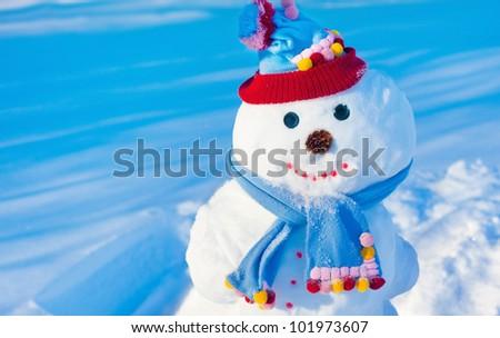 happy snowmen - stock photo