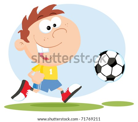 Happy Soccer Boy With Ball - stock photo