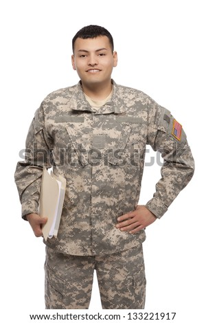 Happy soldier with files - stock photo