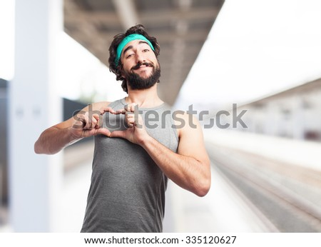 happy sport man heart symbol - stock photo