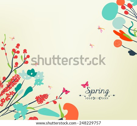 Happy spring flower vintage - stock photo
