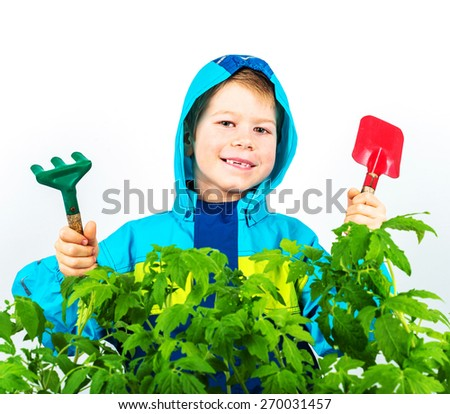Happy spring gardening boy with seedlings and tools on white background. - stock photo