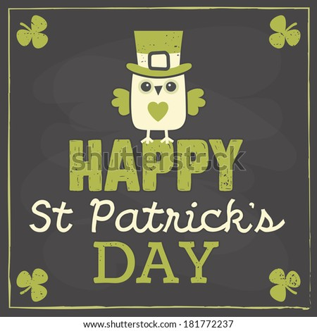 Happy St Patrick's Day card, menu or poster template with cute leprechaun owl sitting on text greeting. Chalkboard effect, raster version. - stock photo