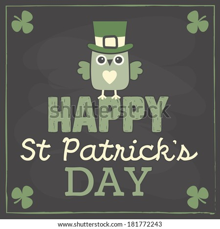 Happy St Patrick's Day card, menu or poster template with cute little leprechaun owl sitting on text greeting. Chalkboard effect, raster version. - stock photo