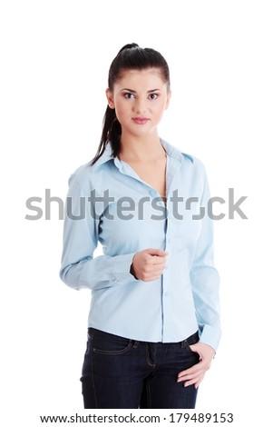 Happy student girl, isolated on white - stock photo