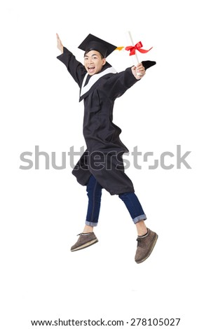 Happy  student in graduate robe jumping isolated on white - stock photo