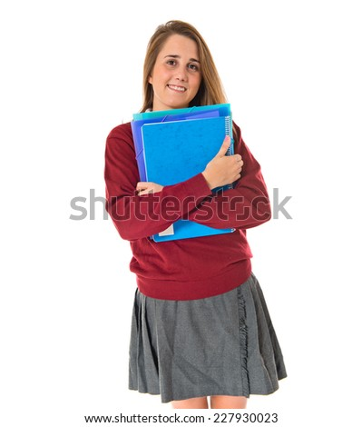 Happy student over white background - stock photo