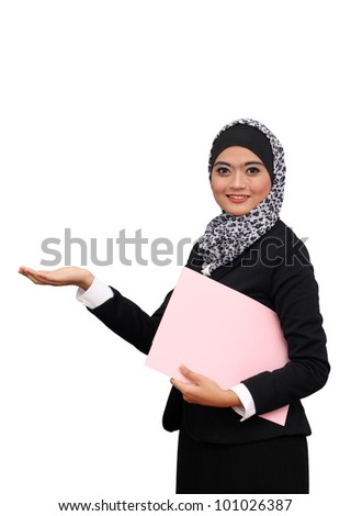 Happy successful business muslim woman. Isolated over white background - stock photo