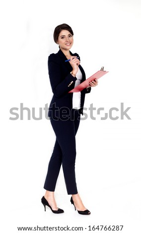 Happy successful business woman with red folder - stock photo