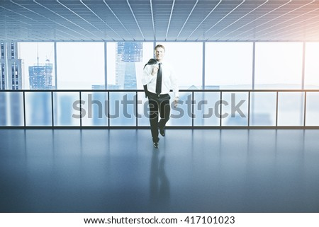 Happy successful businessman walking in interior with city view. 3D Rendering - stock photo