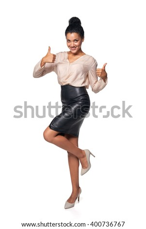 Happy successful mixed race caucasian - african american business woman giving double thumb up, isolated on white background - stock photo