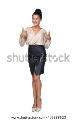Happy successful mixed race caucasian - african american business woman giving double thumb up and looking away at blank copy space, isolated on white background - stock photo
