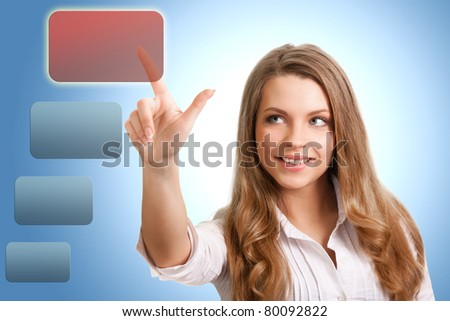 happy successful woman makes the choice of modern technology - stock photo
