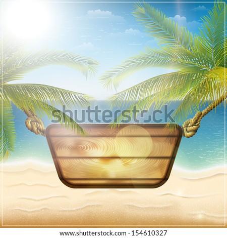 Happy summer holiday card illustration - stock photo