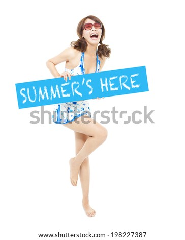 happy sunny bikini girl standing and holding a board - stock photo