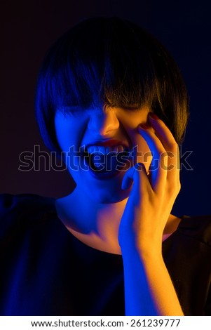 happy surprise on her face - stock photo
