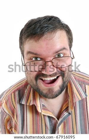 happy surprised  adult man with glasses over white - stock photo