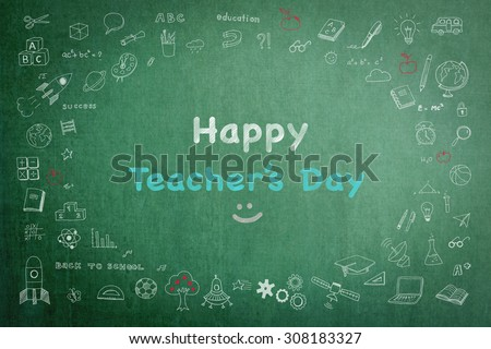 Happy teacher's day concept with smiley face icon on green chalkboard and doodle freehand sketch chalk drawing: Students sending greeting message to school teachers/ academia on special occasion   - stock photo