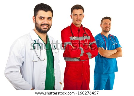 Happy team of different doctors isolated on white background - stock photo