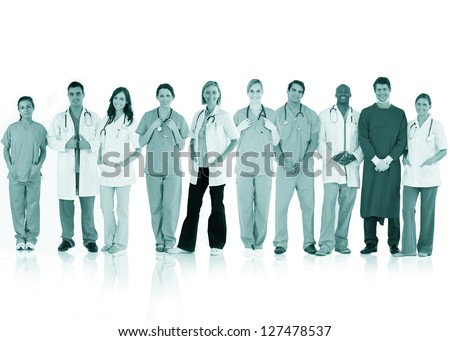 Happy team of doctors standing together in a line in a green tint on white background - stock photo