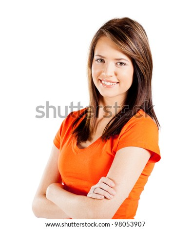 happy teen girl half length portrait isolated on white background - stock photo