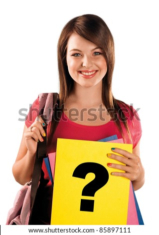 happy teen schoolgirl holding paper with question mark - stock photo