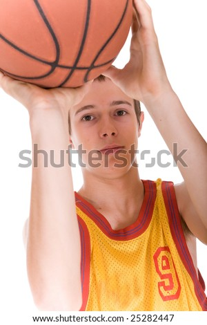 happy teen with basketball. over white background - stock photo