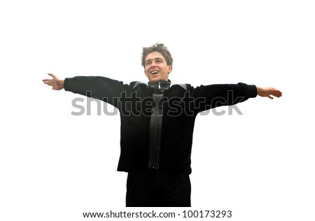 happy teenager in jacket spread his hands isolated on the white - stock photo