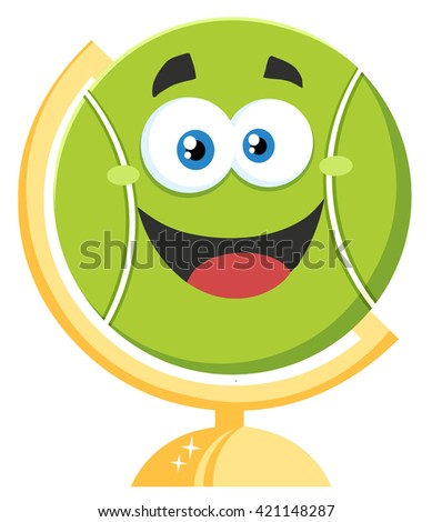 Happy Tennis Ball Cartoon Character On Desk Globe. Raster Illustration Flat Style Isolated On White - stock photo