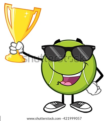 Happy Tennis Ball Cartoon Character With Sunglasses Holding A Trophy Cup. Raster Illustration Isolated On White - stock photo