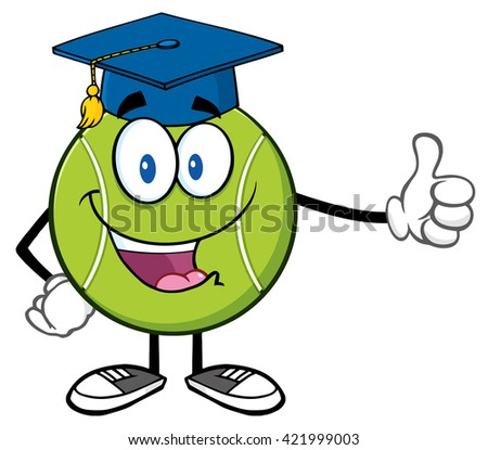Happy Tennis Ball Cartoon Mascot Character With Graduate Cap Giving A Thumb Up. Raster Illustration Isolated On White - stock photo