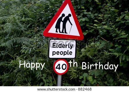 Happy 40th Birthday greeting - stock photo