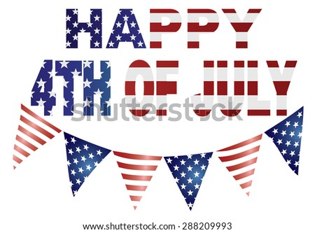 Happy 4th of July Independence Day with Triangular Banner Flags with USA Red White Blue Stars and Stripes Illustration - stock photo