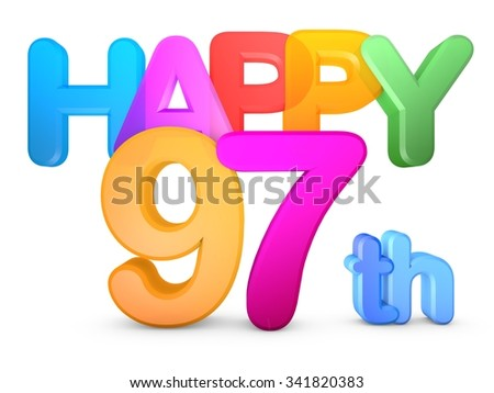 Happy 97th Title in big letters - stock photo