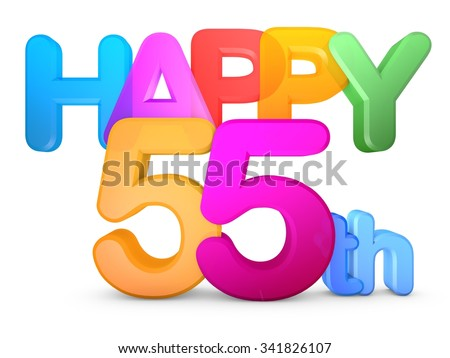 Happy 55th Title in big letters - stock photo