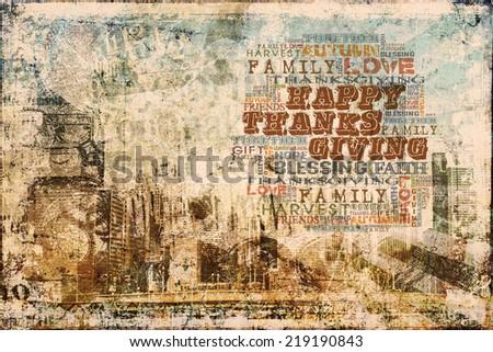Happy Thanksgiving Grunge Background - stock photo