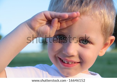 Happy three years old boy gesture - stock photo