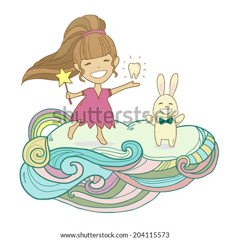Happy tooth fairy princess with tooth and rabbit on abstract cloud isolated on white - stock photo