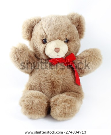 happy toy teddy bear isolated on white - stock photo